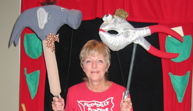 "Carol with hammer and pliers puppets from ""Imagination Station"""