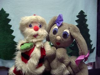 A photo of the Santa Claus and Belinda Bunny puppets from Foxy Christmas