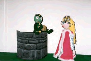 Puppets from Wish Tales: the frog sitting on the well, and the Princess