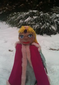 "No, we're not doing ""Frozen""! This is the Princess from ""Wish Tales"" in the snow in January 2014."