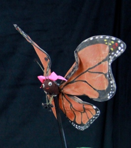 Photo of a butterfly rod puppet from Butterfly Ballad